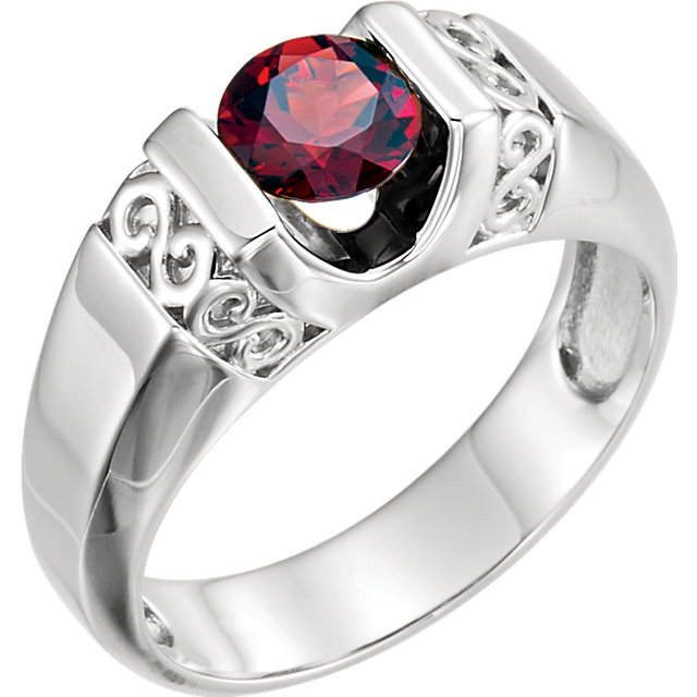 14K White Men-s Mozambique Garnet Ring