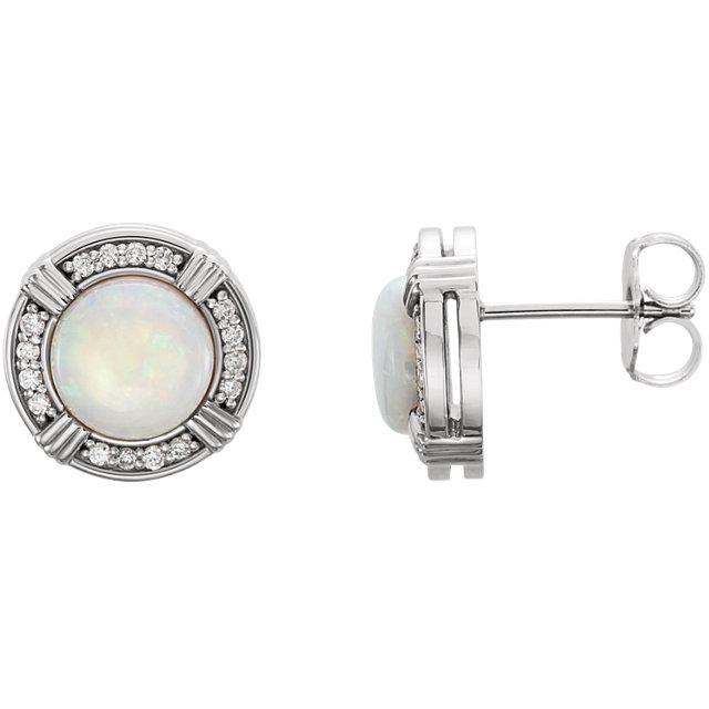 14K White Opal & 1/6 CTW Diamond Earrings