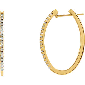 14K Yellow 1/2 CTW Diamond Hoop Earrings