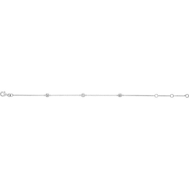 14K White 1/6 CTW Diamond Bezel-Set 3-Station Bracelet