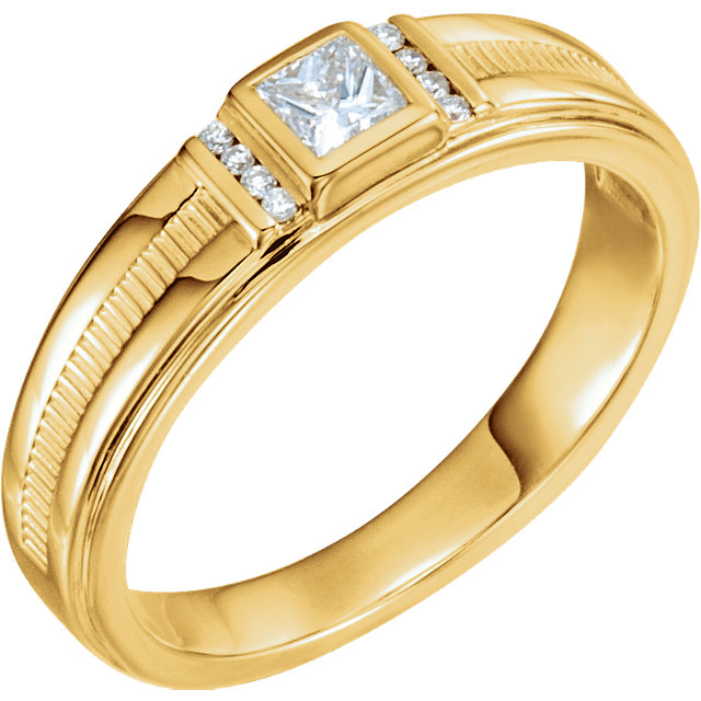 14K Yellow 1/3 CTW Diamond Men-s Ring
