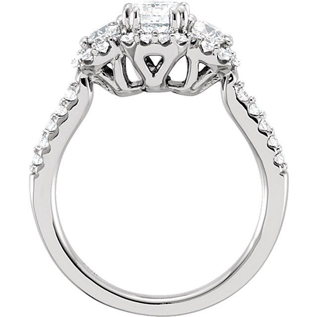 14K White 1 CTW Diamond Engagement Ring Size 7