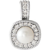 Halo-Style Pearl Pendant