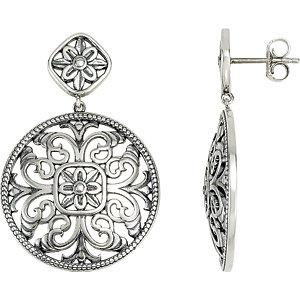 Sterling Silver & 14K White Filigree Earring