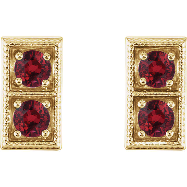 14K Yellow Chatham® Created Ruby Two-Stone Earrings