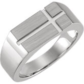 Rectangle Cross Signet Ring