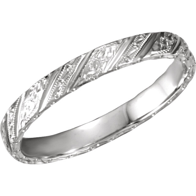14K White 3mm Design-Engraved Band Size 5