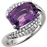 Amethyst & Diamond Bypass Accented Ring