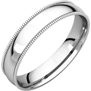 Sterling Silver 4 mm Milgrain Half Round Comfort Fit Light Band Size 5.5
