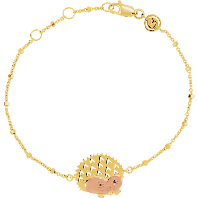 18K Yellow & Rose Vermeil Hedgehog Symbol for Protection 7.5