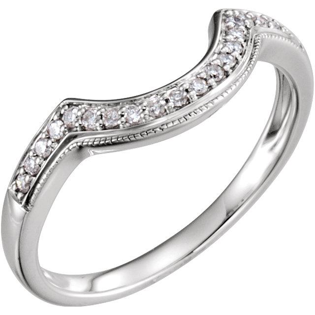 14K White 1/8 CTW Diamond Band for 5.2mm Round Ring