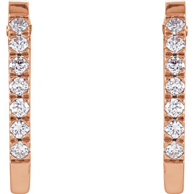 14K Rose 1/5 CTW Diamond Hoop Earrings