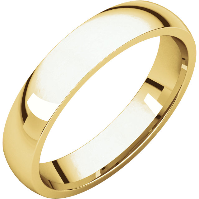 14K Yellow 4mm Lightweight Comfort Fit Band