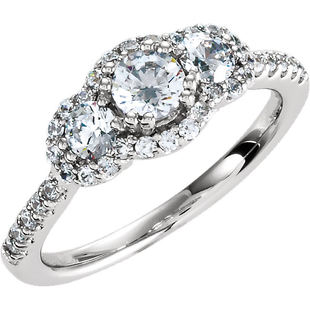 Sterling Silver Halo-Style 3-Stone Cubic Zirconia Ring Size 6