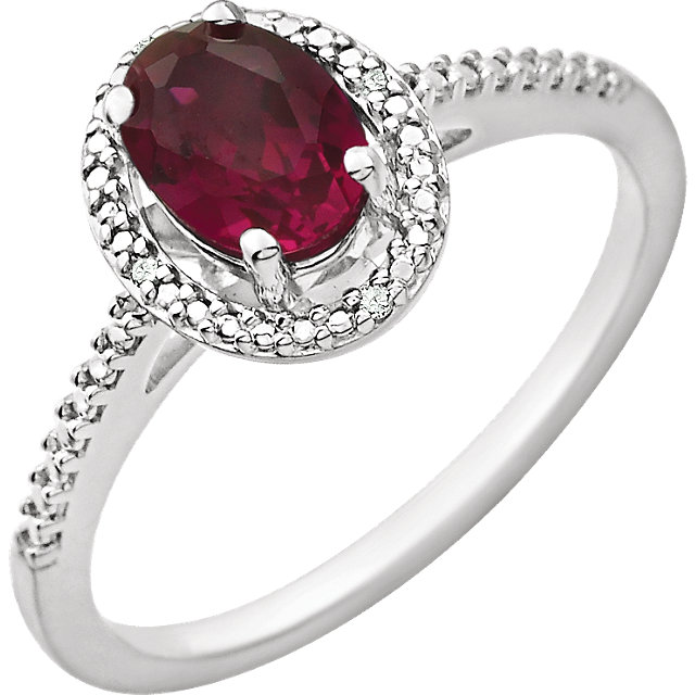 Sterling Silver Lab Created Ruby & .01 CTW Diamond Ring