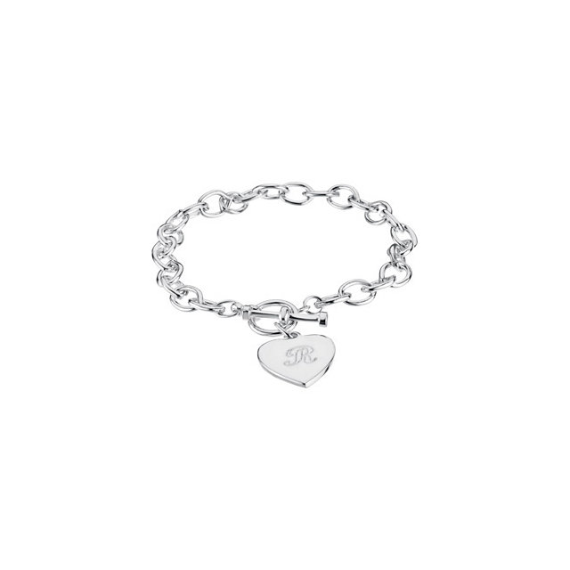 Cable Toggle Bracelet 7mm with Heart Charm
