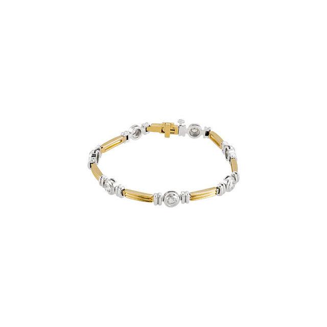 14K Yellow & White 1 CTW Diamond Line Bracelet