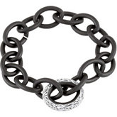 Sterling Silver Link Bracelet with Black Lacquer