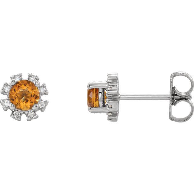 14K White Citrine & .07 CTW Diamond Earrings
