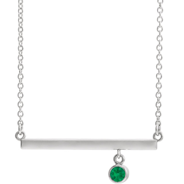 14K White Emerald Bezel-Set 16