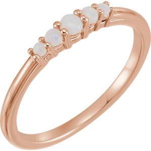 14K Rose Opal Graduated Five-Stone Ring
