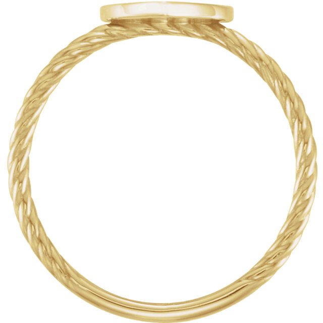 14K Yellow Heart Engravable Rope Ring