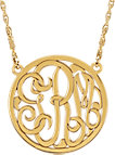 14K Yellow 25mm 3-Letter Script Monogram Necklace