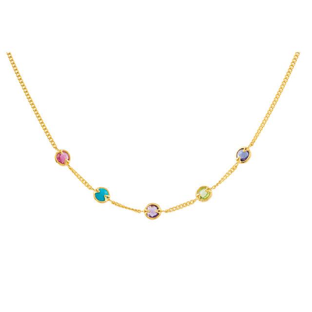 18K Vermeil Pink Tourmaline, Turquoise, Amethyst, Peridot & Iolite 16