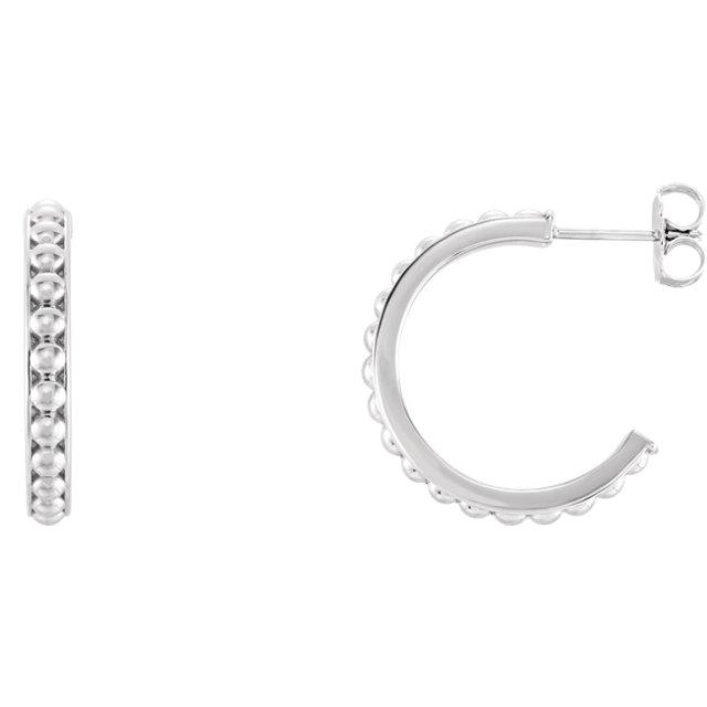 Sterling Silver 20 mm J-Hoop Beaded Earrings