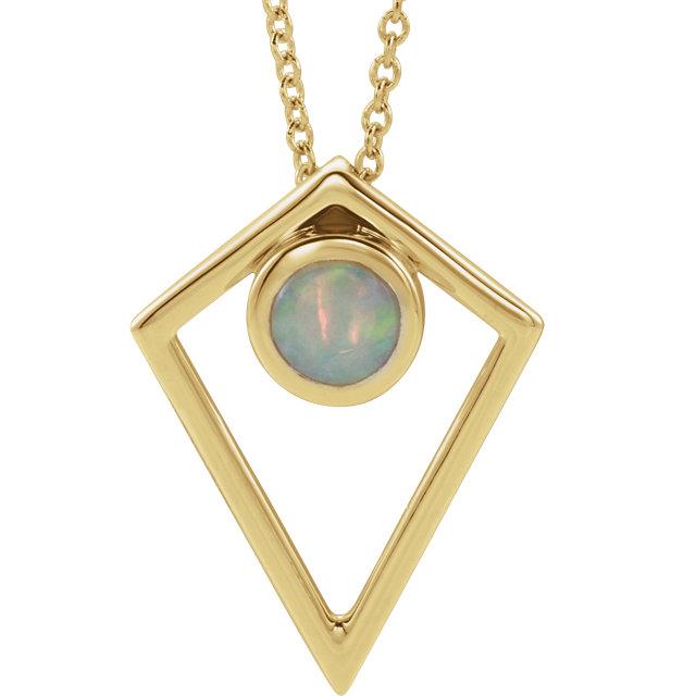14K Yellow Opal Cabochon Pyramid 16-18