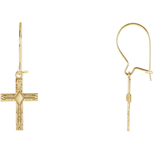 14K Yellow Cross Earring