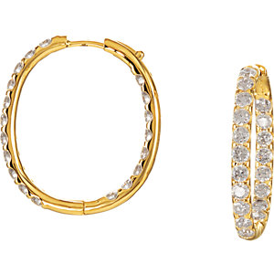 Earrings , 14K Yellow 3 CTW Diamond Inside/Outside Hoop Earrings