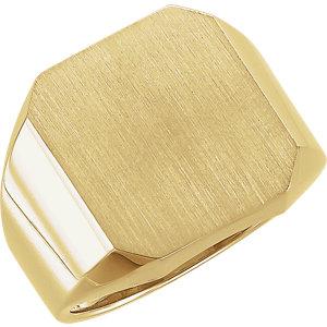 Fashion Rings , 18K Yellow 18x16mm Men's Signet Ring