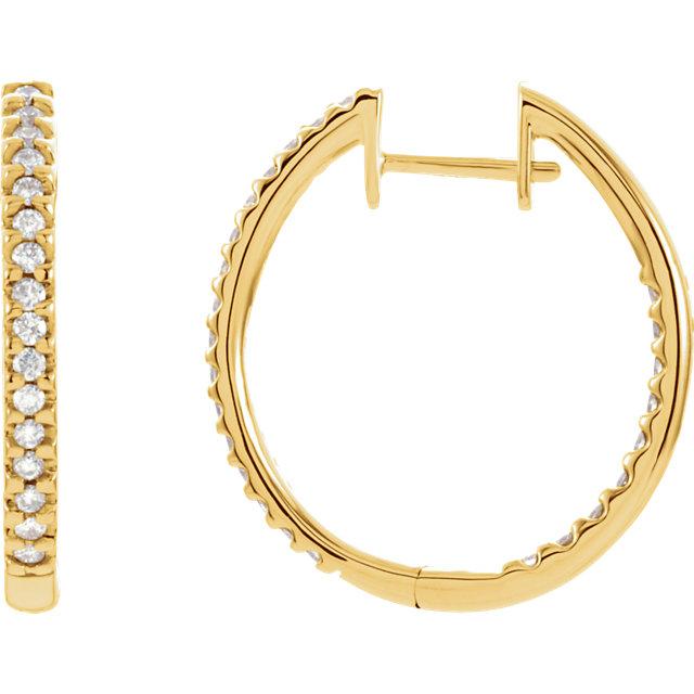 14K Yellow 3/4 CTW Diamond Hinged Inside-Outside Hoop Earrings