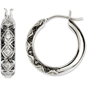 Black & White Diamond Hoop Earrings