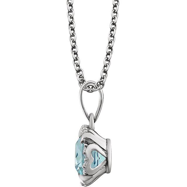 14K White Sky Blue Topaz & .05 CTW Diamond 18