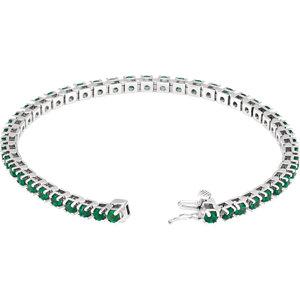 14K White Emerald Line Bracelet