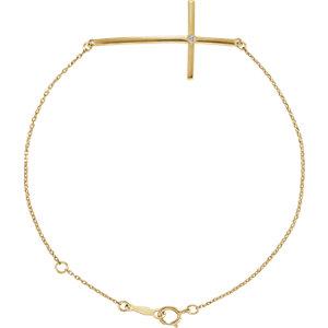 14K Yellow Diamond Sideways Cross Bracelet