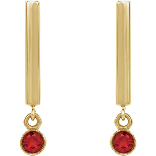 14K Yellow Ruby Dangle Earrings