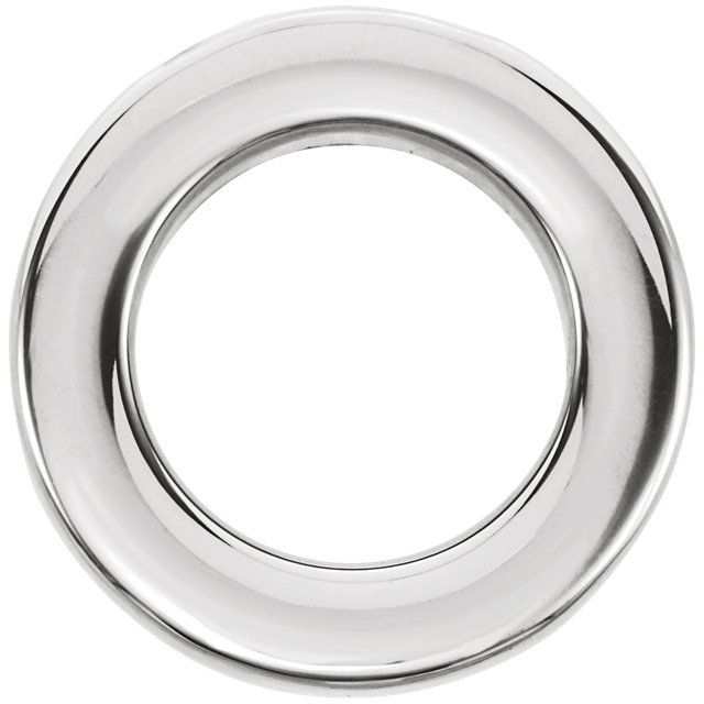 14K White 13 mm Circle Chain Slide