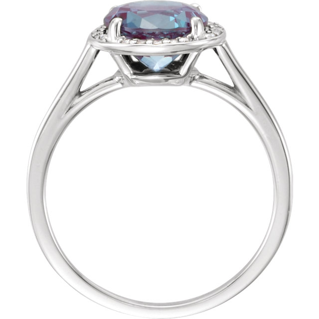 14K White Chatham® Created Alexandrite & .05CTW Diamond Ring