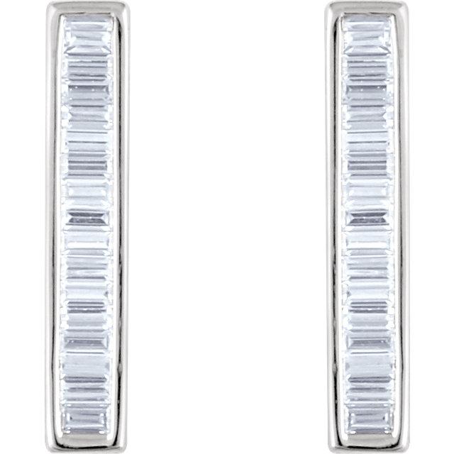 14K White 1/2 CTW Diamond Baguette Bar Earrings