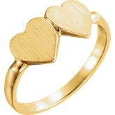 Open Back Double Heart Signet Ring