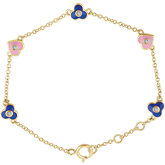 Accented Flowers & Hearts Bracelet
