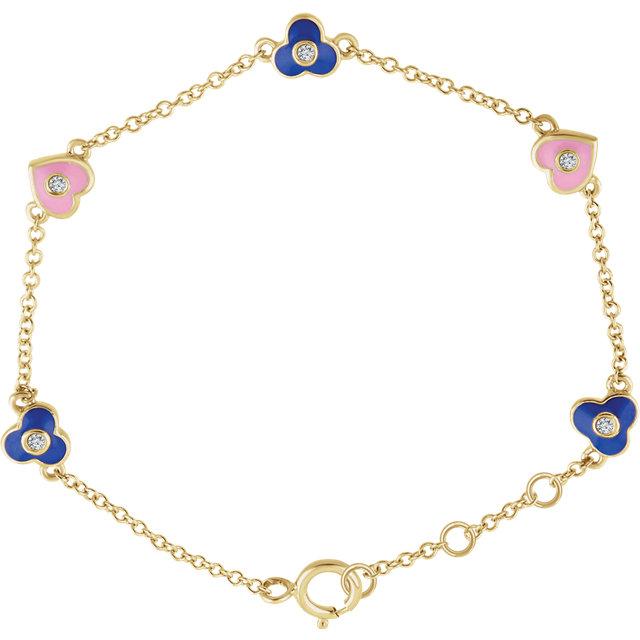 14K Yellow .04 CTW Diamond Flowers & Hearts 7
