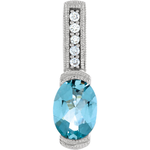 14K White Aquamarine & .05 CTW Diamond Pendant