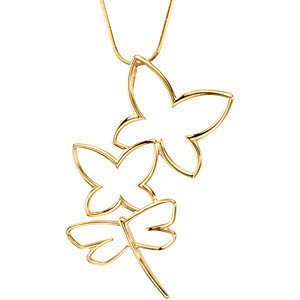 Pendant, 14K Yellow Butterfly & Dragonfly Pendant
