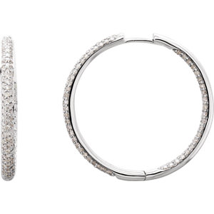 18K White 1 1/2 CTW Diamond Inside/Outside Hoop Earrings