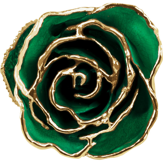 Lacquered Green Rose with Gold Trim