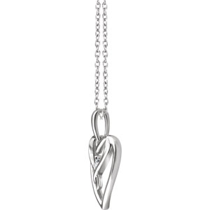 Sterling Silver .05 CT Diamond Heart Necklace